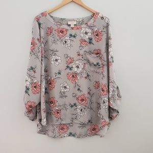 2 for $20 LOFT gray floral blouse xlarge